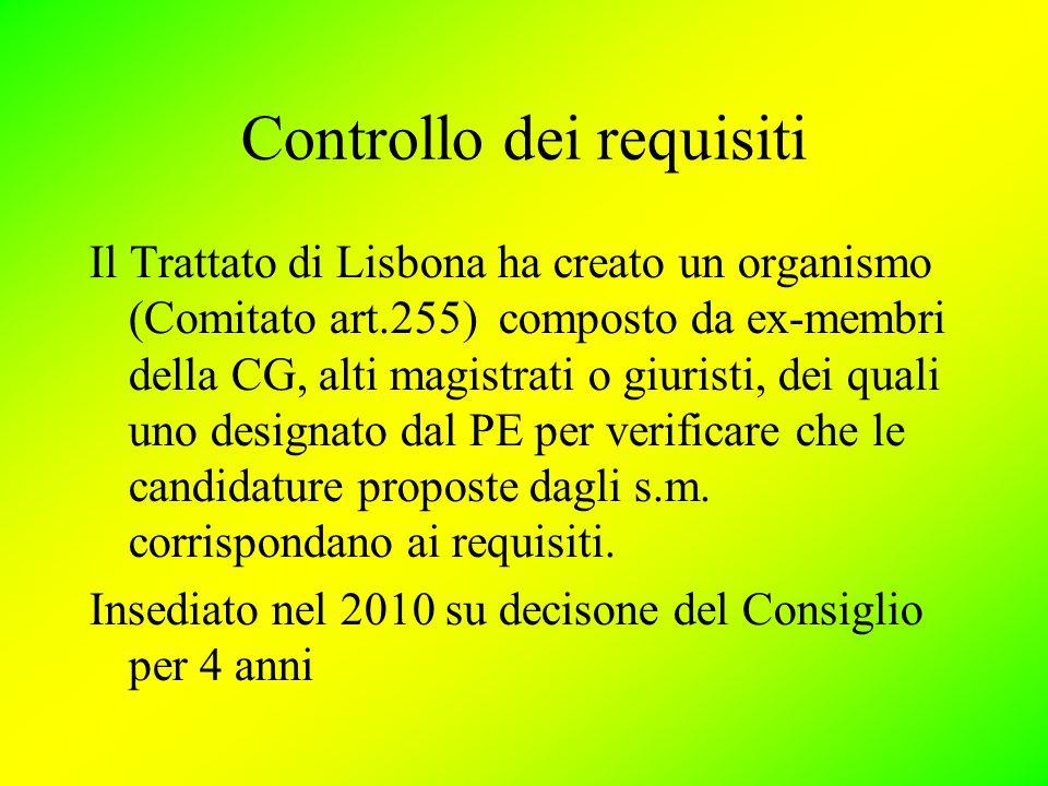 Controllo dei requisiti Il Trattato di Lisbona ha creato un organismo (Comitato art.255) composto da ex-membri della CG, alti magistrati o giuristi, dei quali uno designato dal PE per verificare che le candidature proposte dagli s.m.