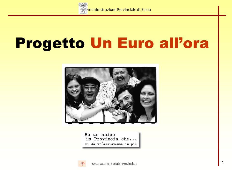 Amministrazione Provinciale di Siena 12 Osservatorio Sociale Provinciale Il progetto Un Euro all'ora