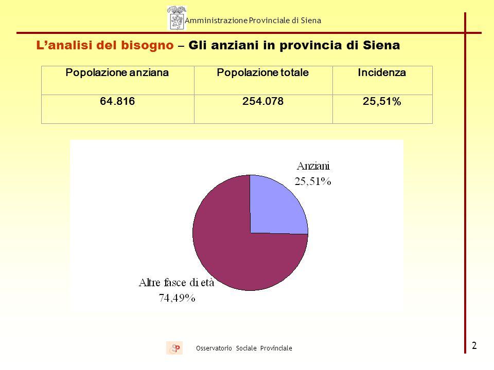 Amministrazione Provinciale di Siena 23 Osservatorio Sociale Provinciale Il progetto Un'Assistenza in più / Ad hoc