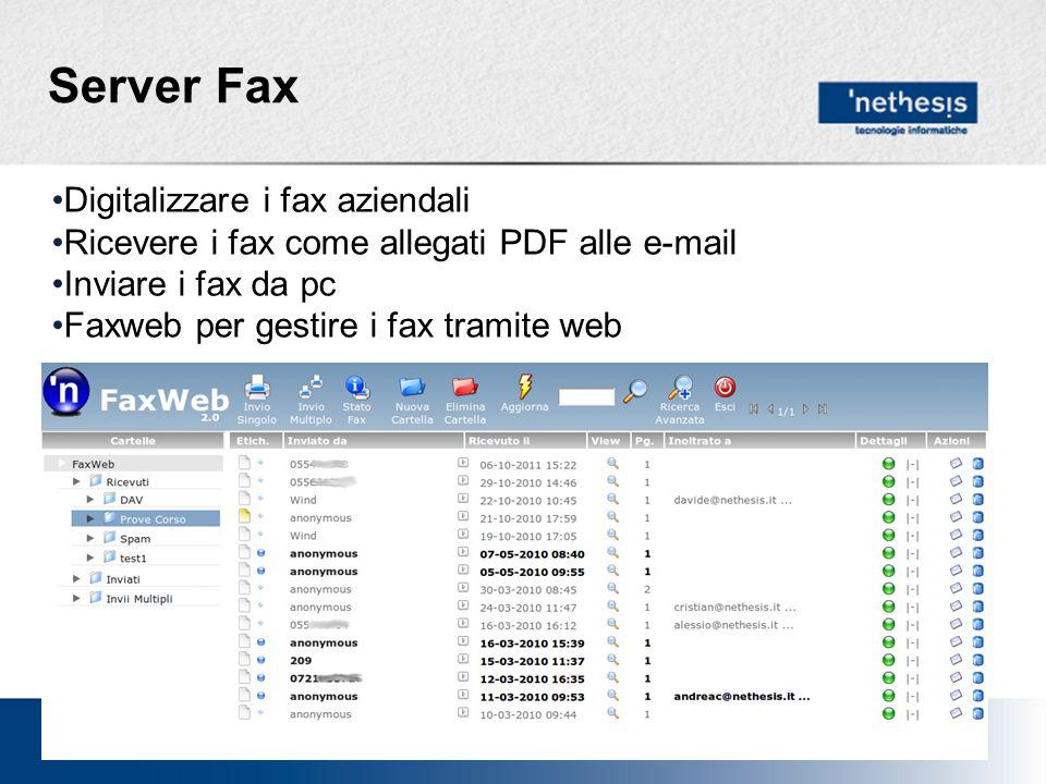 Server Fax Digitalizzare i fax aziendali Ricevere i fax come allegati PDF alle e-mail Inviare i fax da pc Faxweb per gestire i fax tramite web