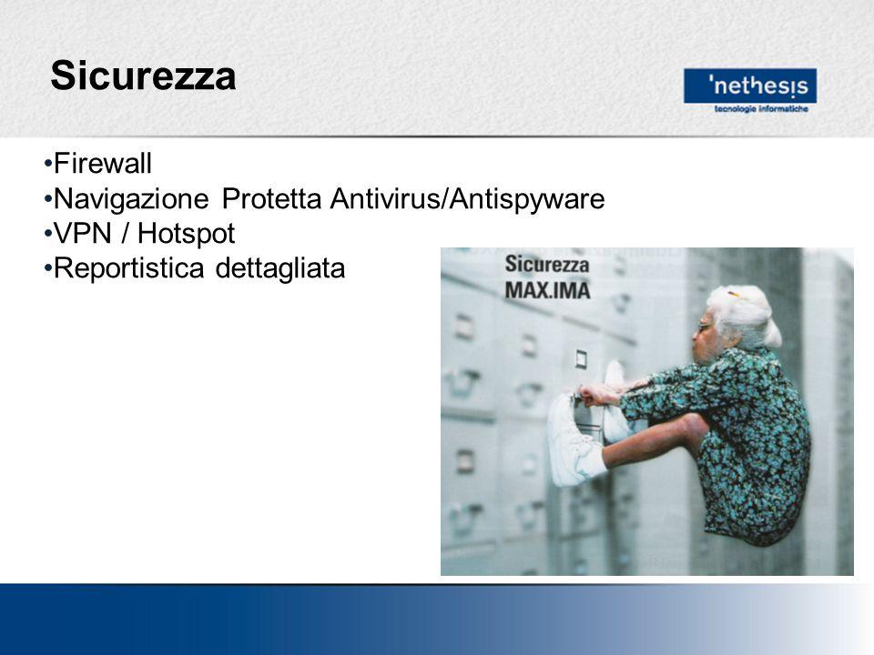 Sicurezza Firewall Navigazione Protetta Antivirus/Antispyware VPN / Hotspot Reportistica dettagliata