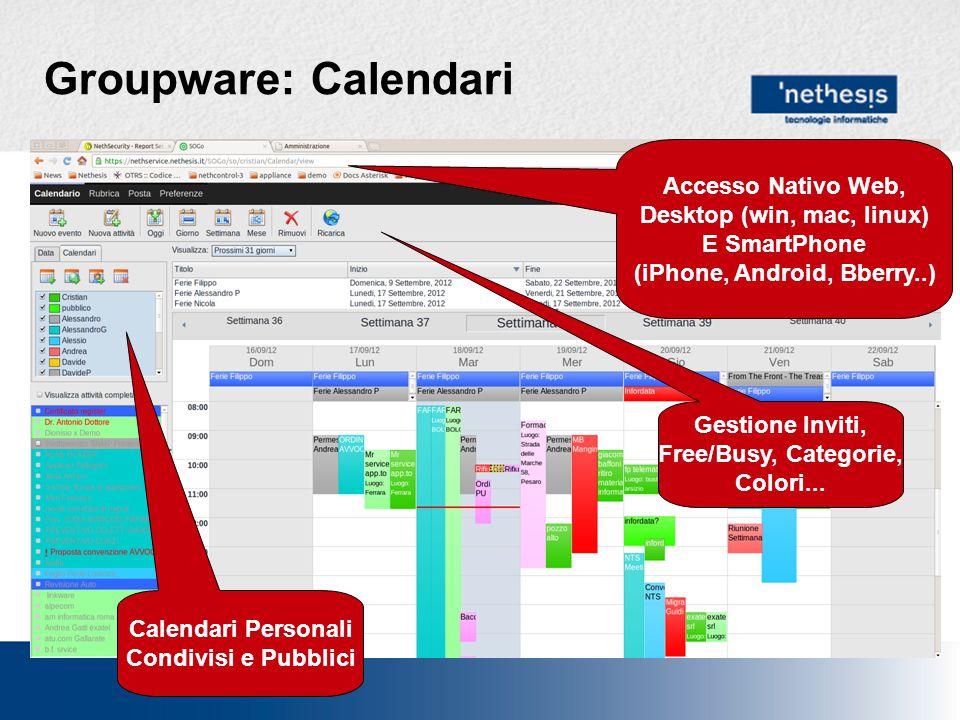 Groupware: Rubriche Rubriche Personali Condivise, di gruppo …..