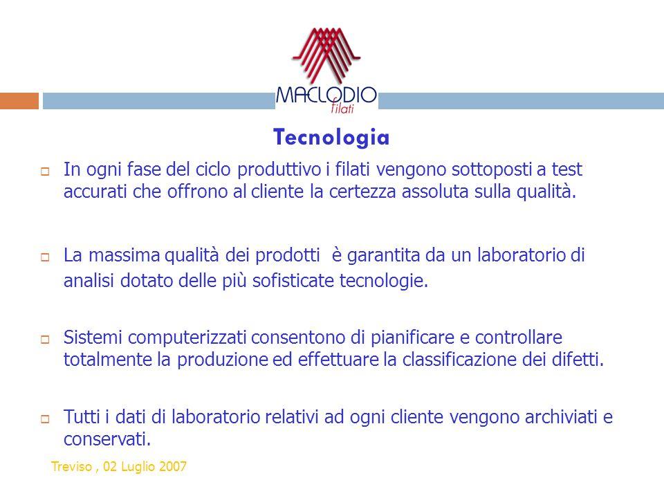 Tecnologia  In ogni fase del ciclo produttivo i filati vengono sottoposti a test accurati che offrono al cliente la certezza assoluta sulla qualità.