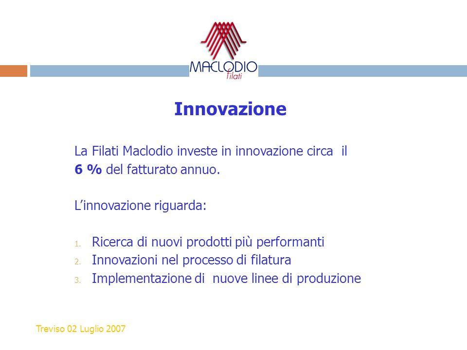 Innovazione La Filati Maclodio investe in innovazione circa il 6 % del fatturato annuo. L'innovazione riguarda: 1. Ricerca di nuovi prodotti più perfo