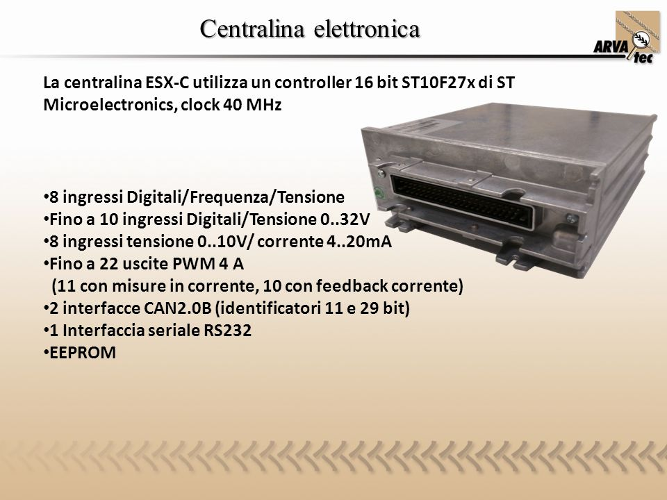 Centralina elettronica La centralina ESX-C utilizza un controller 16 bit ST10F27x di ST Microelectronics, clock 40 MHz 8 ingressi Digitali/Frequenza/T