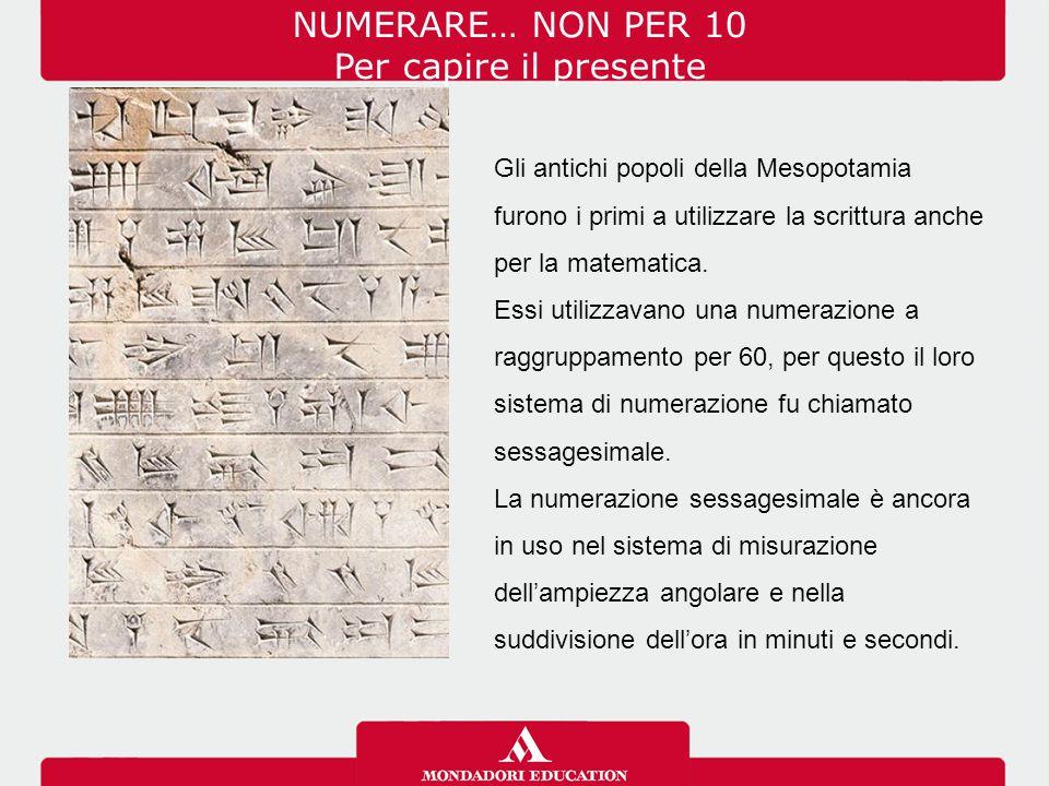 NUMERARE… NON PER 10 Per capire il presente Gli antichi popoli della Mesopotamia furono i primi a utilizzare la scrittura anche per la matematica. Ess