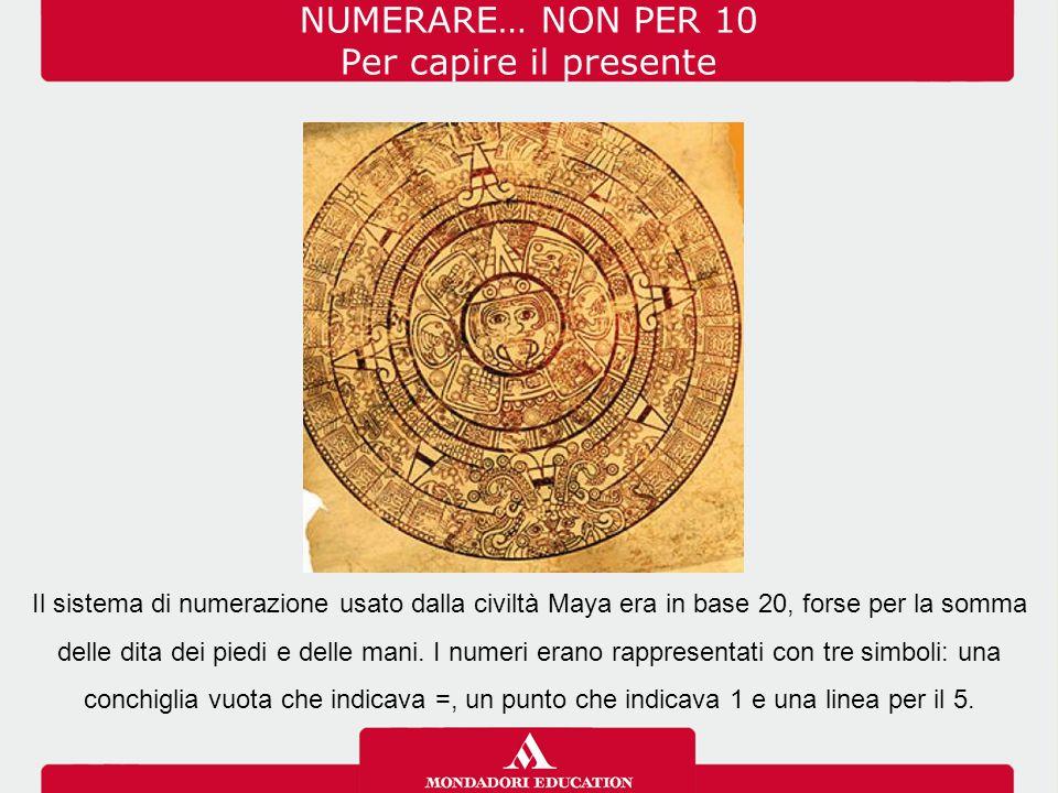 NUMERARE… NON PER 10 Per capire il presente Il sistema di numerazione usato dalla civiltà Maya era in base 20, forse per la somma delle dita dei piedi