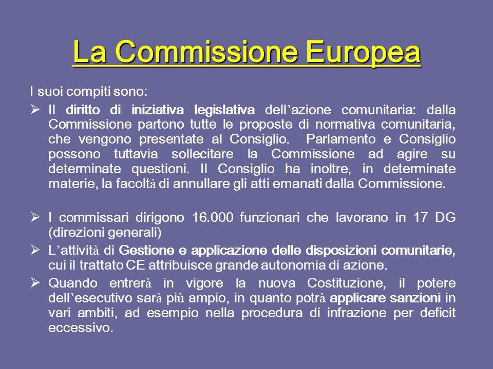 La Commissione Europea A partire dal 1° novembre 2004 i commissari sono 1 per ogni Paese membro.