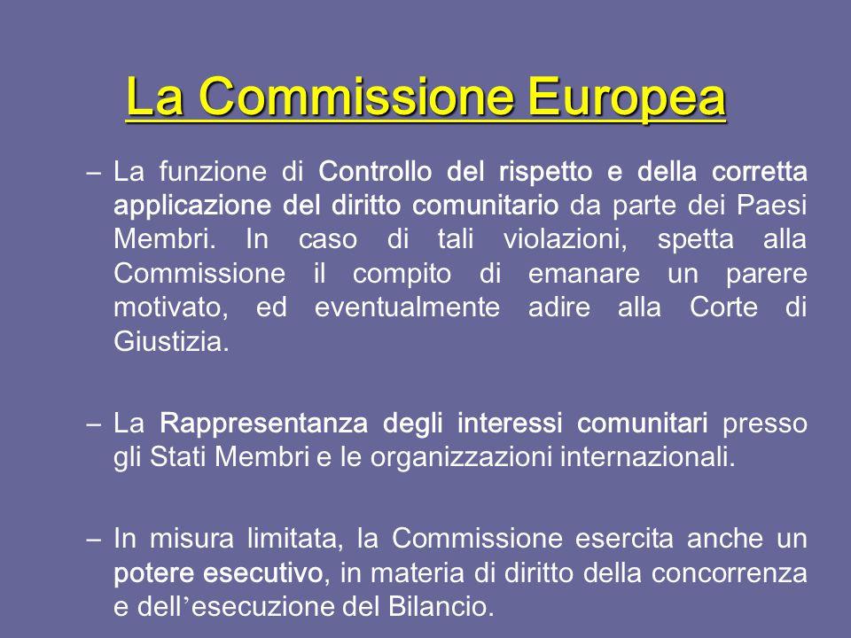 La Commissione Europea I suoi compiti sono:  Il diritto di iniziativa legislativa dell ' azione comunitaria: dalla Commissione partono tutte le proposte di normativa comunitaria, che vengono presentate al Consiglio.