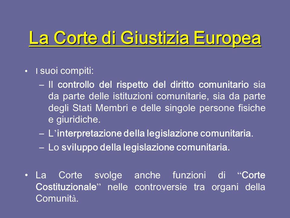 La Corte di Giustizia Europea Esercita il potere giudiziario nell ' ambito della Comunit à.
