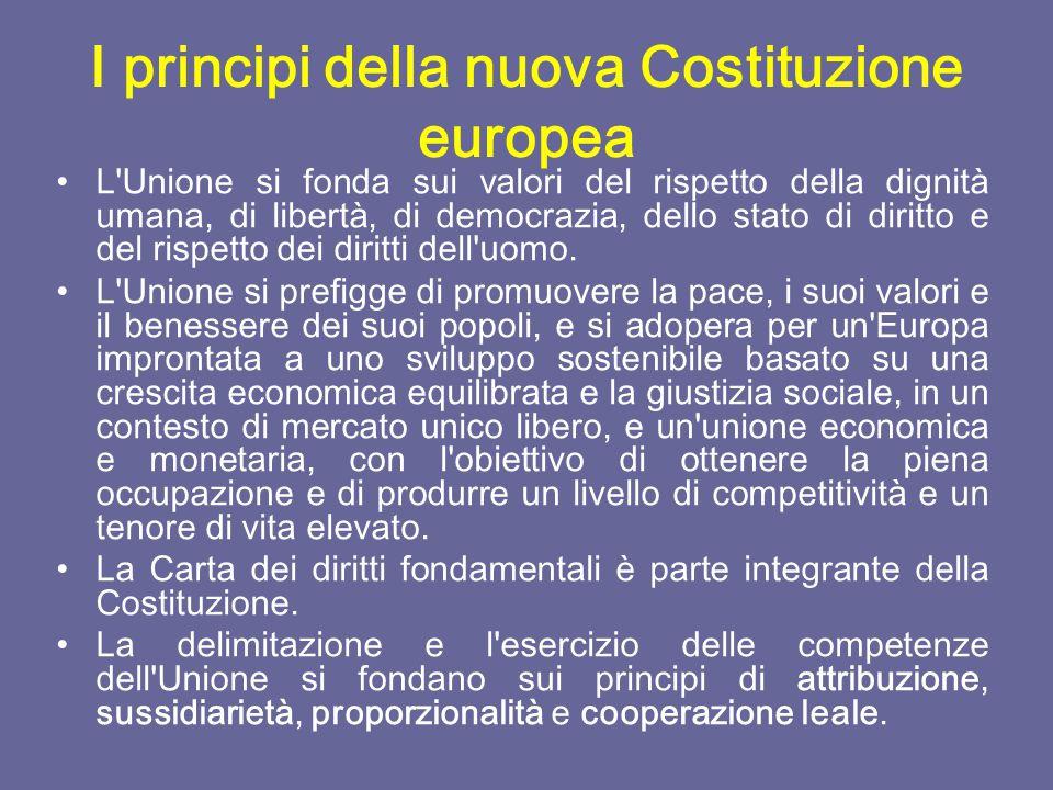LA COSTIZIONE EUROPEA Il 29 ottobre 2004 è stata firmata a Roma la Costituzione dell'Unione europea.