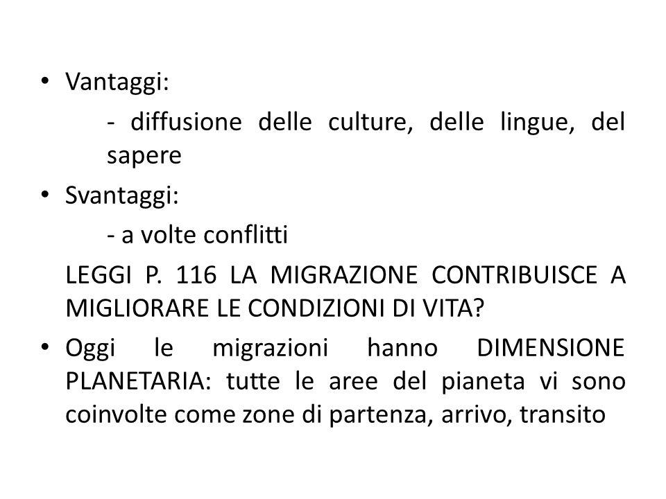 Vantaggi: - diffusione delle culture, delle lingue, del sapere Svantaggi: - a volte conflitti LEGGI P. 116 LA MIGRAZIONE CONTRIBUISCE A MIGLIORARE LE