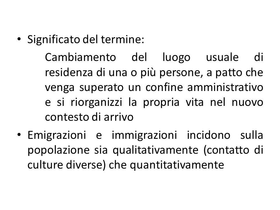 Significato del termine: Cambiamento del luogo usuale di residenza di una o più persone, a patto che venga superato un confine amministrativo e si rio