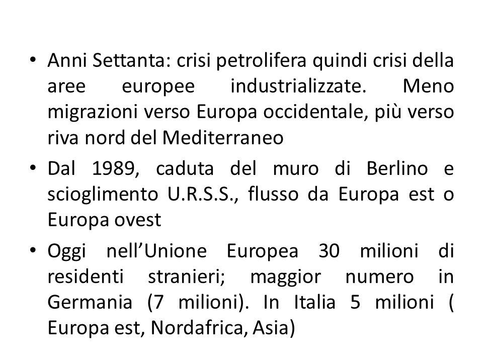 Anni Settanta: crisi petrolifera quindi crisi della aree europee industrializzate. Meno migrazioni verso Europa occidentale, più verso riva nord del M