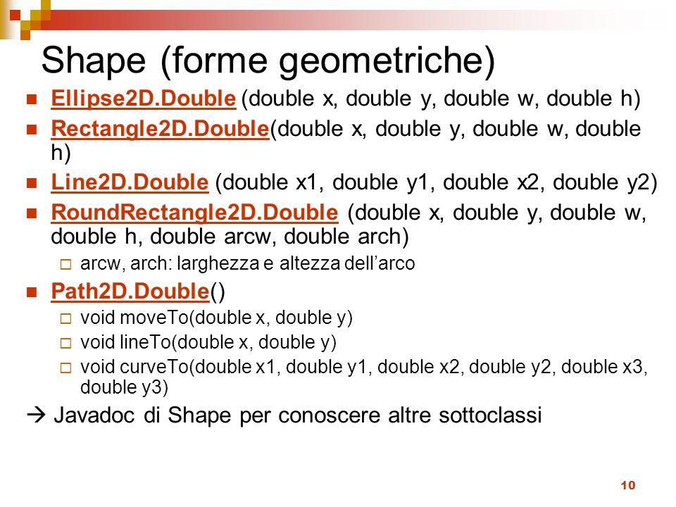10 Shape (forme geometriche) Ellipse2D.Double (double x, double y, double w, double h) Rectangle2D.Double(double x, double y, double w, double h) Line2D.Double (double x1, double y1, double x2, double y2) RoundRectangle2D.Double (double x, double y, double w, double h, double arcw, double arch)  arcw, arch: larghezza e altezza dell'arco Path2D.Double()  void moveTo(double x, double y)  void lineTo(double x, double y)  void curveTo(double x1, double y1, double x2, double y2, double x3, double y3)  Javadoc di Shape per conoscere altre sottoclassi