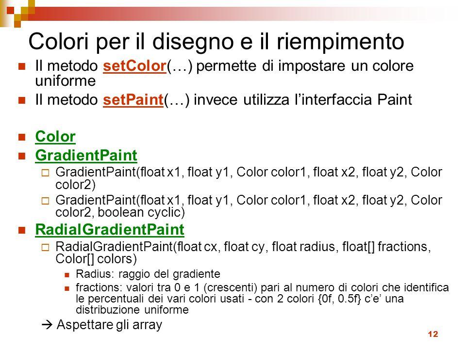 12 Colori per il disegno e il riempimento Il metodo setColor(…) permette di impostare un colore uniforme Il metodo setPaint(…) invece utilizza l'interfaccia Paint Color GradientPaint  GradientPaint(float x1, float y1, Color color1, float x2, float y2, Color color2)  GradientPaint(float x1, float y1, Color color1, float x2, float y2, Color color2, boolean cyclic) RadialGradientPaint  RadialGradientPaint(float cx, float cy, float radius, float[] fractions, Color[] colors) Radius: raggio del gradiente fractions: valori tra 0 e 1 (crescenti) pari al numero di colori che identifica le percentuali dei vari colori usati - con 2 colori {0f, 0.5f} c'e' una distribuzione uniforme  Aspettare gli array