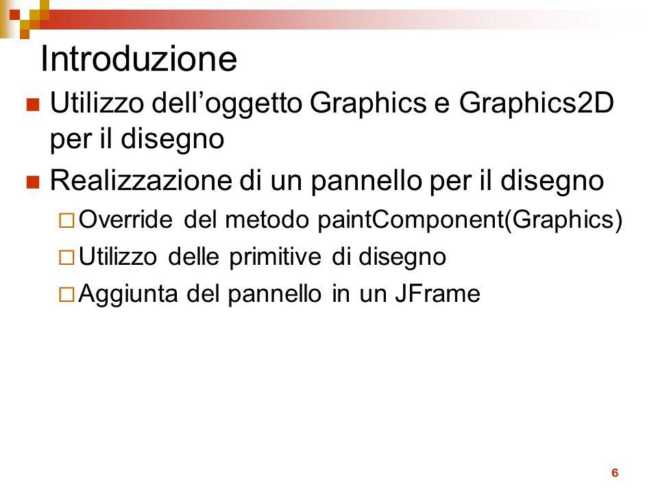 6 Introduzione Utilizzo dell'oggetto Graphics e Graphics2D per il disegno Realizzazione di un pannello per il disegno  Override del metodo paintComponent(Graphics)  Utilizzo delle primitive di disegno  Aggiunta del pannello in un JFrame