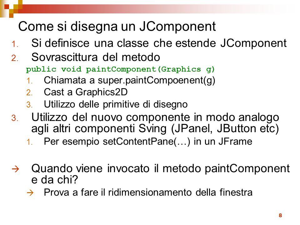 8 Come si disegna un JComponent 1.Si definisce una classe che estende JComponent 2.