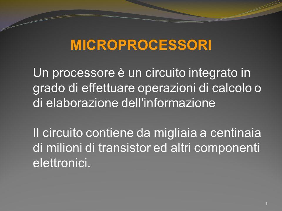 MICROPROCESSORI Un processore è un circuito integrato in grado di effettuare operazioni di calcolo o di elaborazione dell'informazione Il circuito con