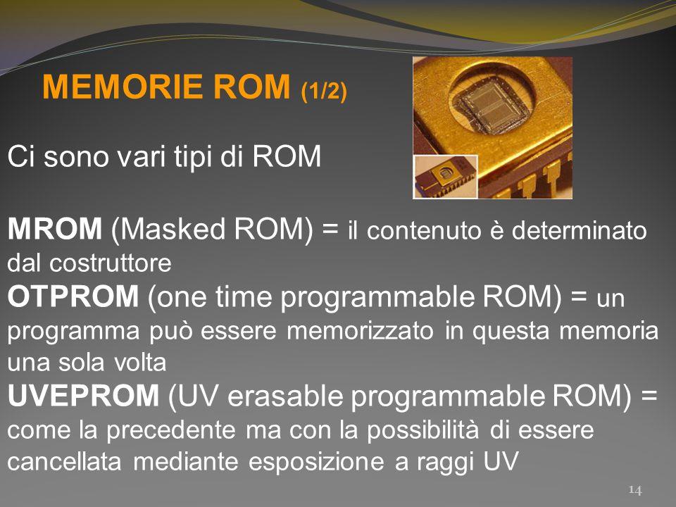 MEMORIE ROM (1/2) Ci sono vari tipi di ROM MROM (Masked ROM) = il contenuto è determinato dal costruttore OTPROM (one time programmable ROM) = un prog