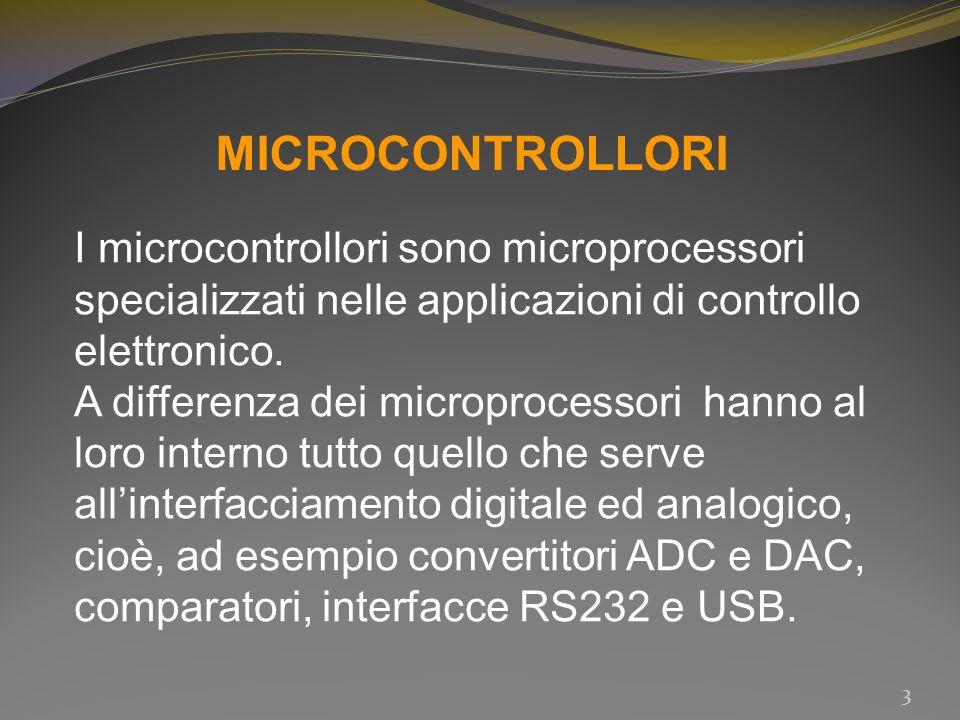 MICROCONTROLLORI I microcontrollori sono microprocessori specializzati nelle applicazioni di controllo elettronico. A differenza dei microprocessori h