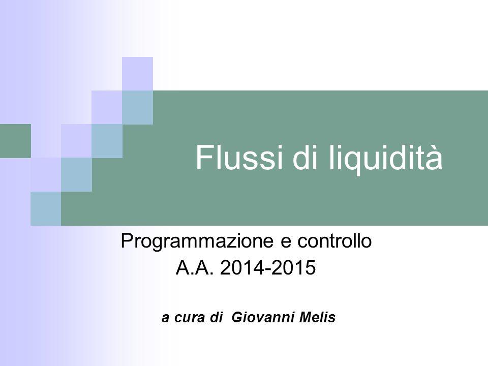 Flussi di liquidità Programmazione e controllo A.A. 2014-2015 a cura di Giovanni Melis