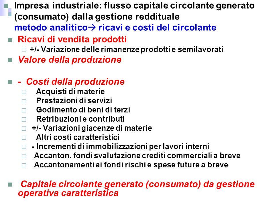 Impresa industriale: flusso capitale circolante generato (consumato) dalla gestione reddituale metodo analitico  ricavi e costi del circolante Ricavi