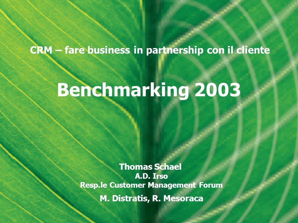 Benchmarking 2003 Thomas Schael A.D. Irso Resp.le Customer Management Forum M.