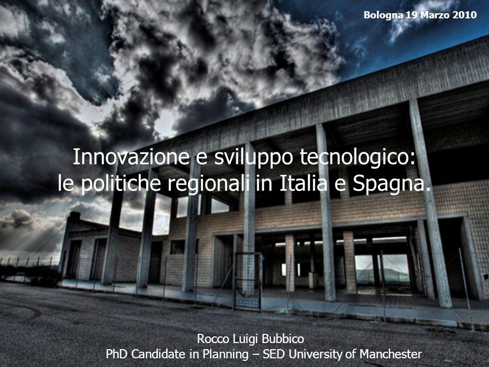 Bologna 19 Marzo 2010 Innovazione e sviluppo tecnologico: le politiche regionali in Italia e Spagna.