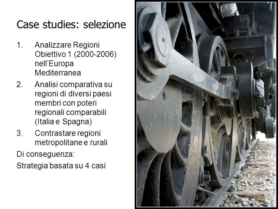 1.Analizzare Regioni Obiettivo 1 (2000-2006) nell'Europa Mediterranea 2.Analisi comparativa su regioni di diversi paesi membri con poteri regionali comparabili (Italia e Spagna) 3.Contrastare regioni metropolitane e rurali Di conseguenza: Strategia basata su 4 casi Case studies: selezione