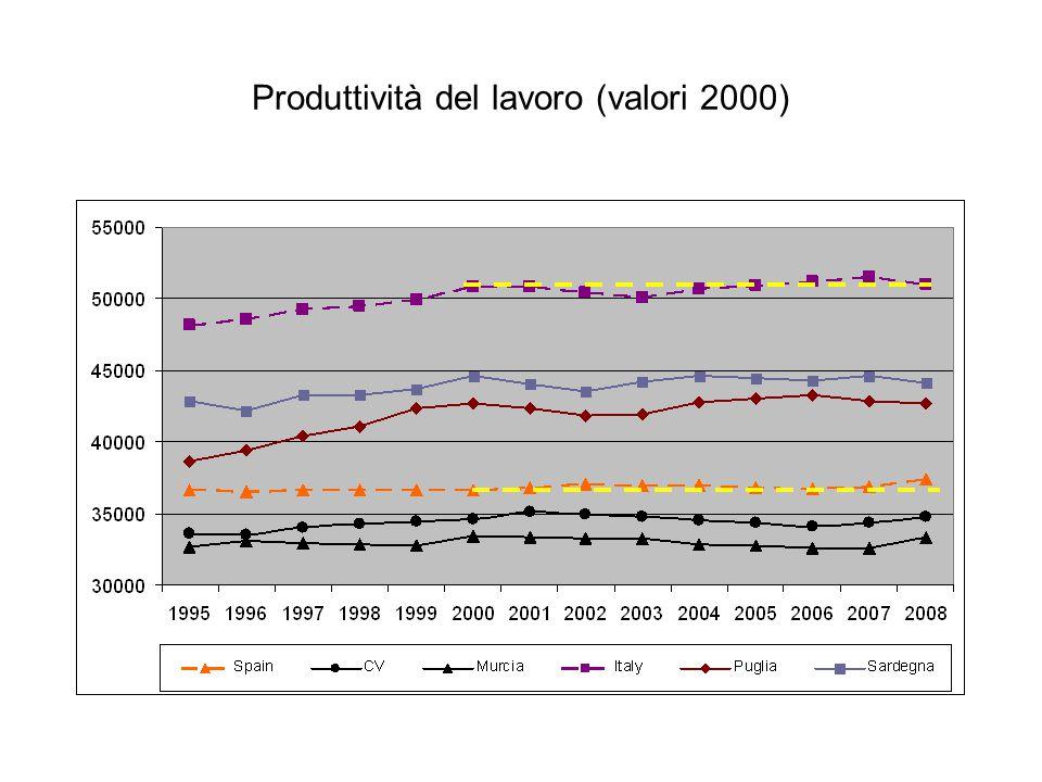 Produttività del lavoro (valori 2000)