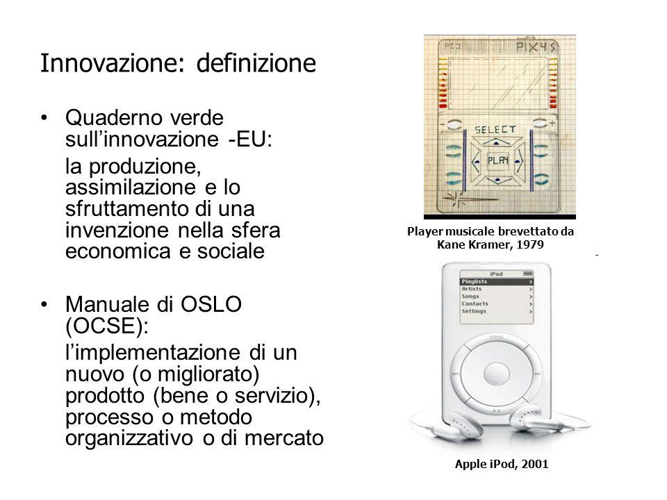 Innovazione: definizione Quaderno verde sull'innovazione -EU: la produzione, assimilazione e lo sfruttamento di una invenzione nella sfera economica e sociale Manuale di OSLO (OCSE): l'implementazione di un nuovo (o migliorato) prodotto (bene o servizio), processo o metodo organizzativo o di mercato Player musicale brevettato da Kane Kramer, 1979 Apple iPod, 2001