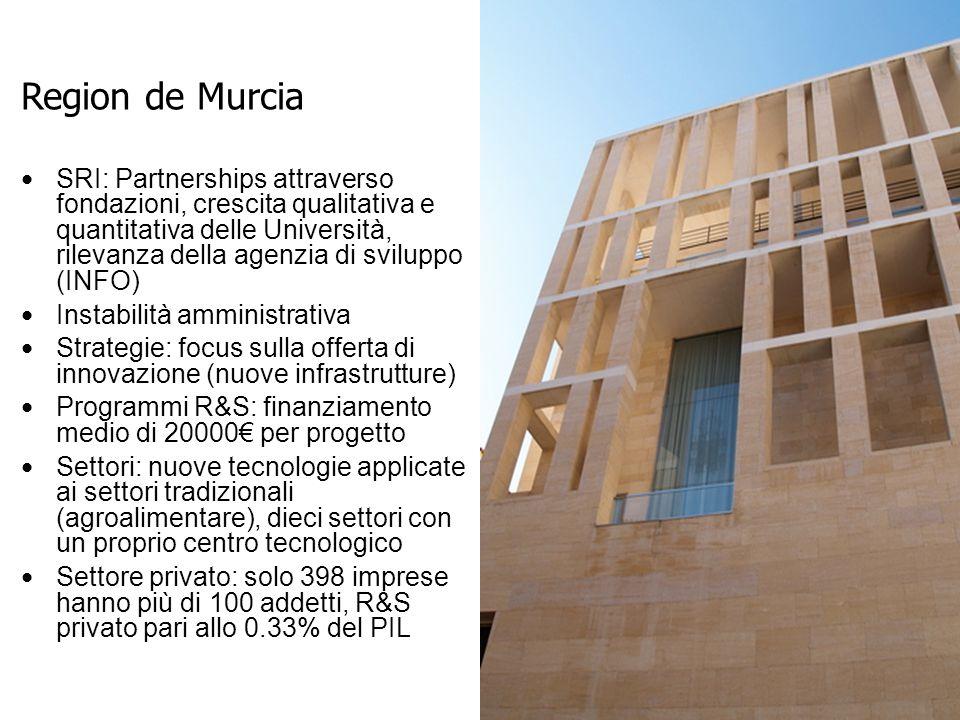 SRI: Partnerships attraverso fondazioni, crescita qualitativa e quantitativa delle Università, rilevanza della agenzia di sviluppo (INFO) Instabilità amministrativa Strategie: focus sulla offerta di innovazione (nuove infrastrutture) Programmi R&S: finanziamento medio di 20000€ per progetto Settori: nuove tecnologie applicate ai settori tradizionali (agroalimentare), dieci settori con un proprio centro tecnologico Settore privato: solo 398 imprese hanno più di 100 addetti, R&S privato pari allo 0.33% del PIL Region de Murcia