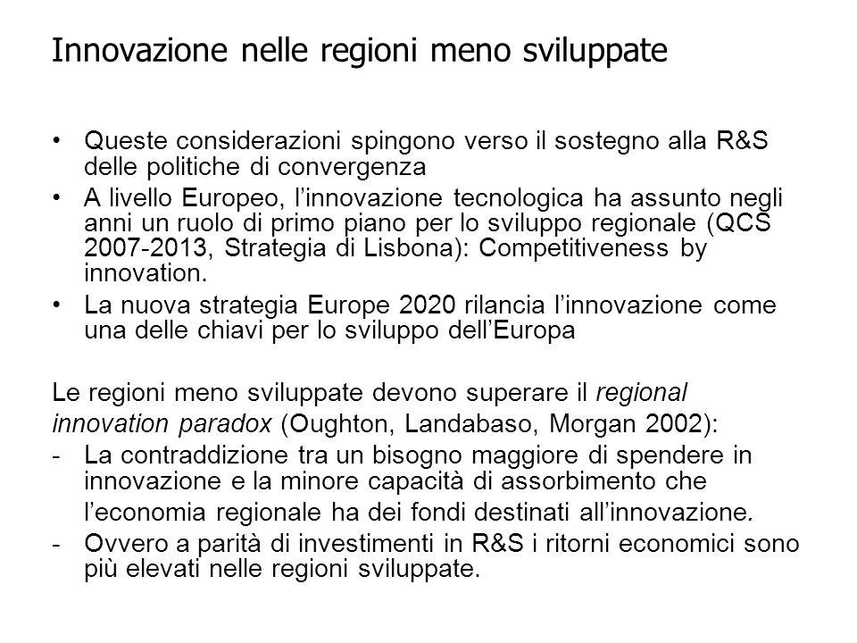 Queste considerazioni spingono verso il sostegno alla R&S delle politiche di convergenza A livello Europeo, l'innovazione tecnologica ha assunto negli anni un ruolo di primo piano per lo sviluppo regionale (QCS 2007-2013, Strategia di Lisbona): Competitiveness by innovation.