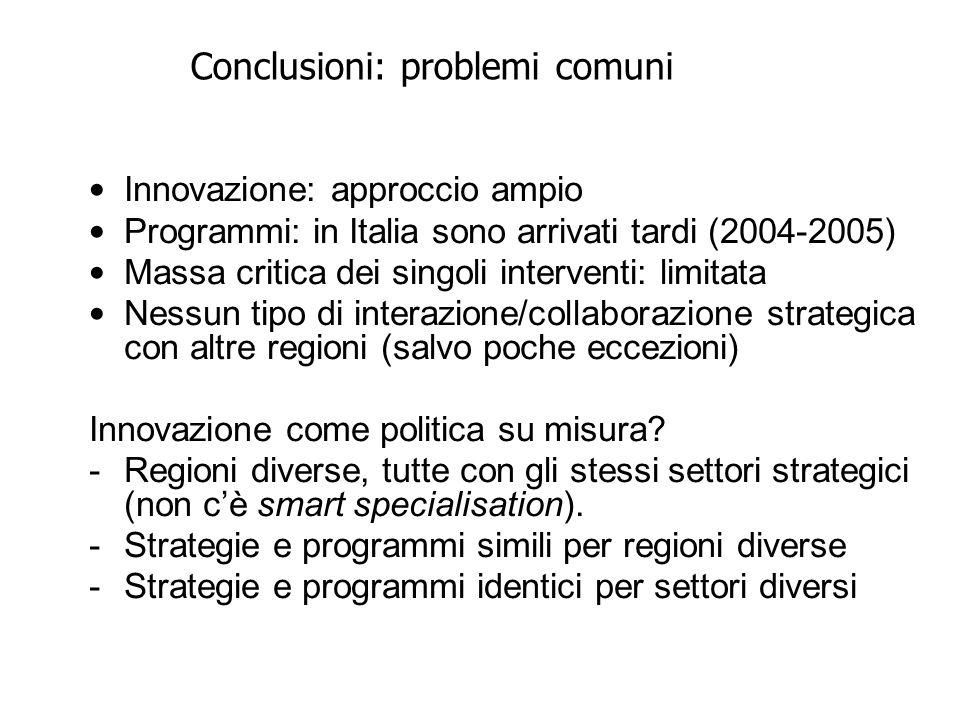 Conclusioni: problemi comuni Innovazione: approccio ampio Programmi: in Italia sono arrivati tardi (2004-2005) Massa critica dei singoli interventi: limitata Nessun tipo di interazione/collaborazione strategica con altre regioni (salvo poche eccezioni) Innovazione come politica su misura.