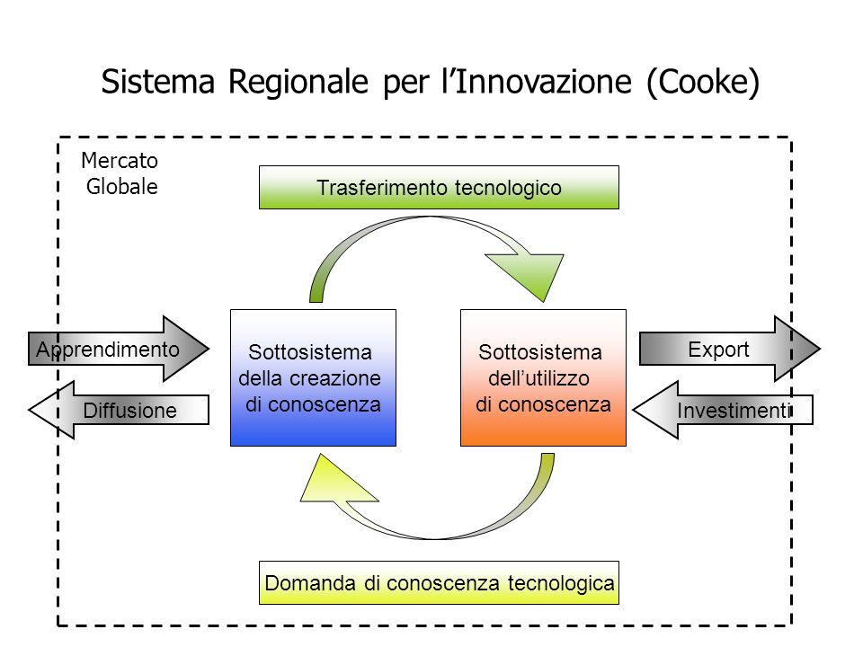 Sottosistema della creazione di conoscenza Sottosistema dell'utilizzo di conoscenza Apprendimento Diffusione Export Investimenti Trasferimento tecnologico Domanda di conoscenza tecnologica Mercato Globale Sistema Regionale per l'Innovazione (Cooke)
