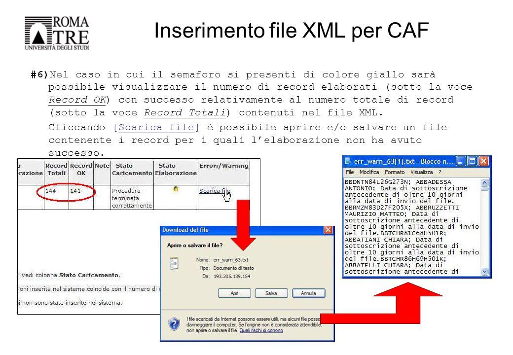 #7)Nel caso di errori dopo l'elaborazione del File XML caricato correggerli secondo una delle seguenti modalità: -Fare un nuovo File XML con nome diverso contente solo i nominativi che sono stati scartati nel precedente invio e corretti successivamente dai CAF; -Correggere gli errori direttamente nel File XML originario ed eseguire un nuovo UPLOAD; Per qualsiasi chiarimento in merito si prega di contattare il Dott.