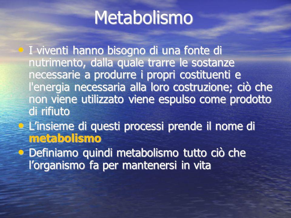 Metabolismo I viventi hanno bisogno di una fonte di nutrimento, dalla quale trarre le sostanze necessarie a produrre i propri costituenti e l'energia