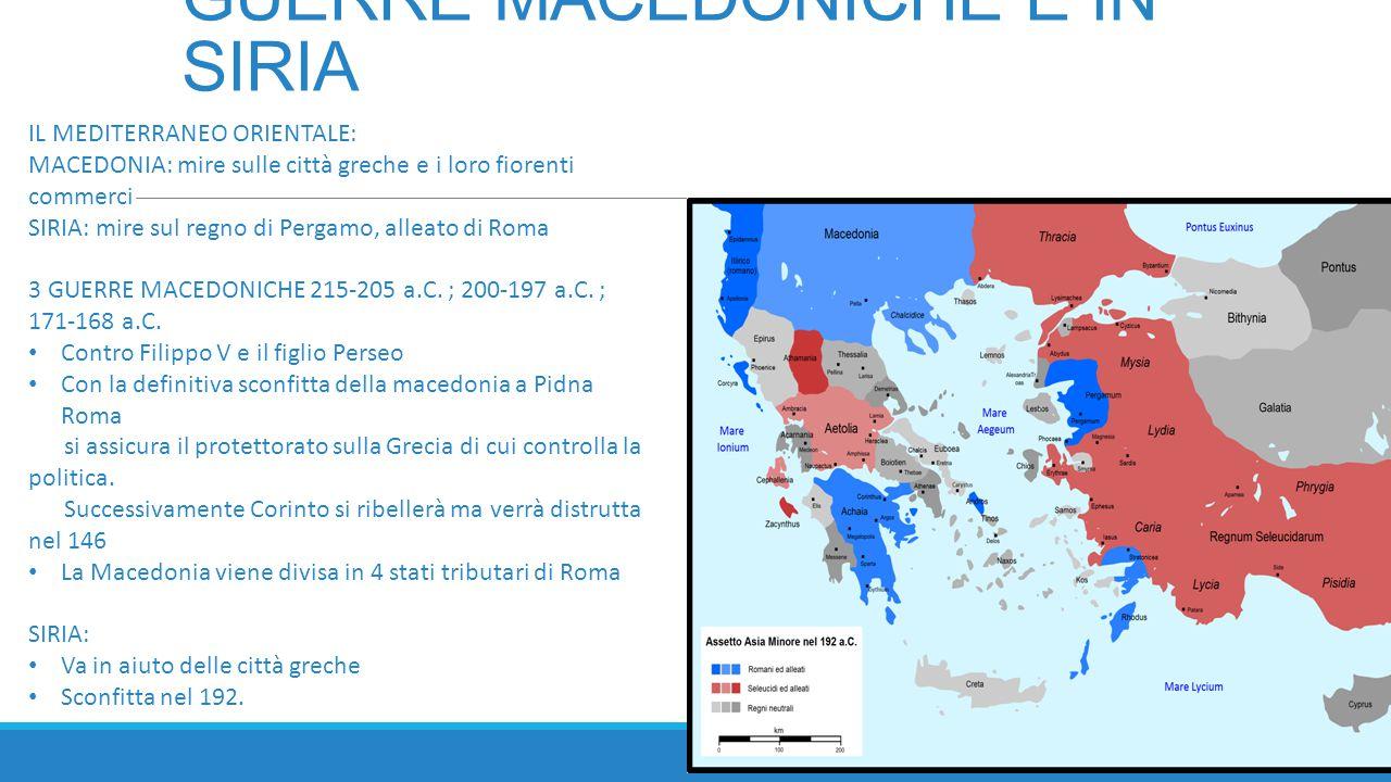 IL PIENO CONTROLLO DEL MEDITERRANEO  TERZA GUERRA PUNICA 149-146 a.C.: definitiva distruzione di Cartagine ad opera di Scipione Emiliano in seguito all'attacco della Numidia da parte di Cartagine  ACQUISIZIONE DEL REGNO DI PERGAMO, lasciato in eredità a Roma alla morte di Antioco III  CONTRO I LUSITANI (Portogallo)  CONTRO I CELTIBERI ( controllo della Spagna centrale)  CONQUISTA DEI TERRITORI COSTIERI TRA ALPI E PIRENEI, entrano a far parte di Roma con il nome di Gallia Narbonense.