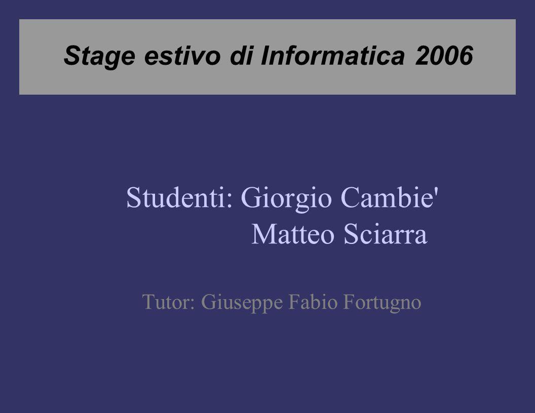 Stage estivo di Informatica 2006 Studenti: Giorgio Cambie Matteo Sciarra Tutor: Giuseppe Fabio Fortugno