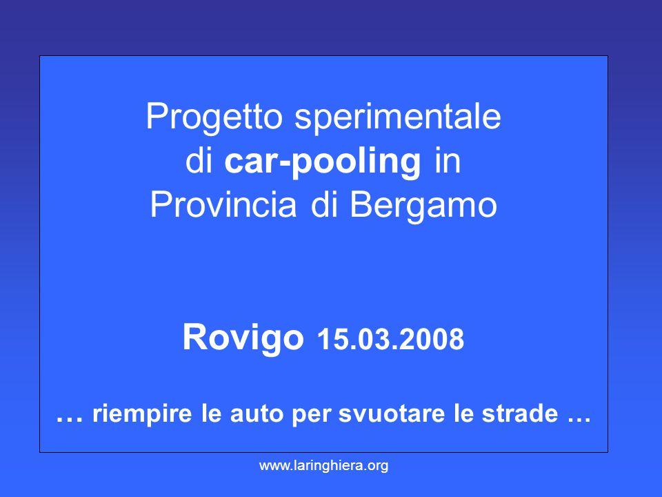Progetto sperimentale di car-pooling in Provincia di Bergamo Rovigo 15.03.2008 … riempire le auto per svuotare le strade … www.laringhiera.org