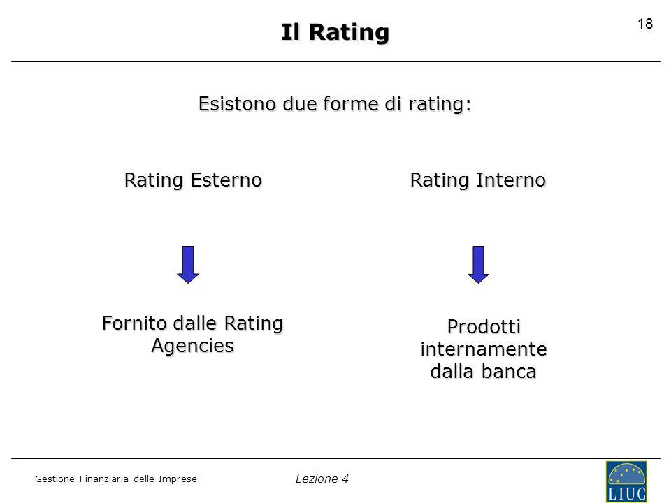 Lezione 4 Gestione Finanziaria delle Imprese 18 Esistono due forme di rating: Rating Esterno Rating Interno Fornito dalle Rating Agencies Prodotti internamente dalla banca Il Rating