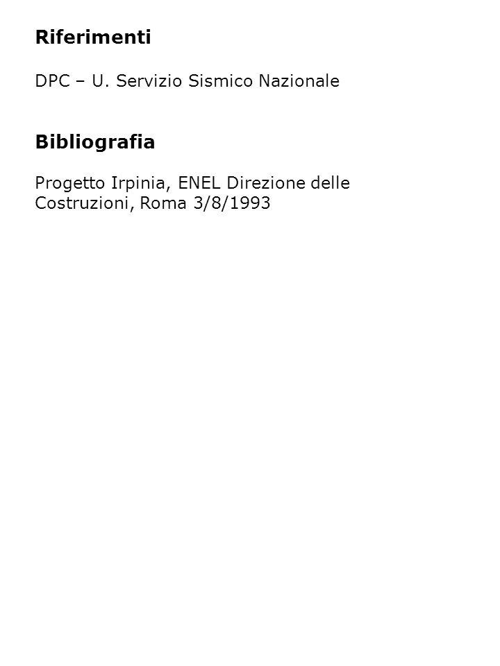 Riferimenti DPC – U. Servizio Sismico Nazionale Bibliografia Progetto Irpinia, ENEL Direzione delle Costruzioni, Roma 3/8/1993