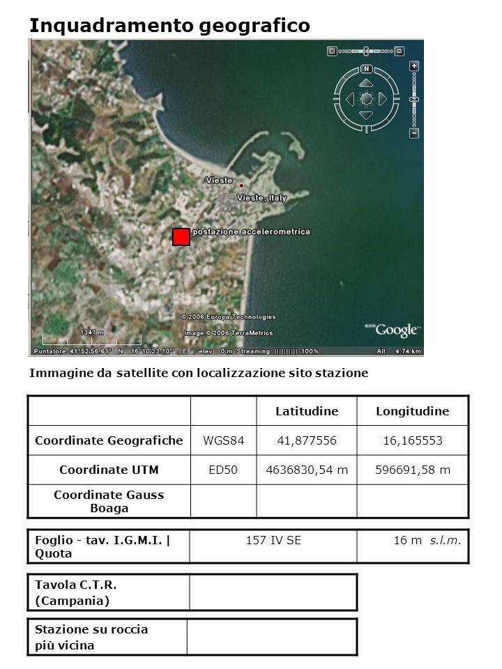 Dati acquisiti dalla stazione Stazione di VIESTE N° di registrazioni acquisite PGA max registrata [cm/s 2 ] Data evento in cui si è registrata il max valore di accelerazione 233,53923/11/1980