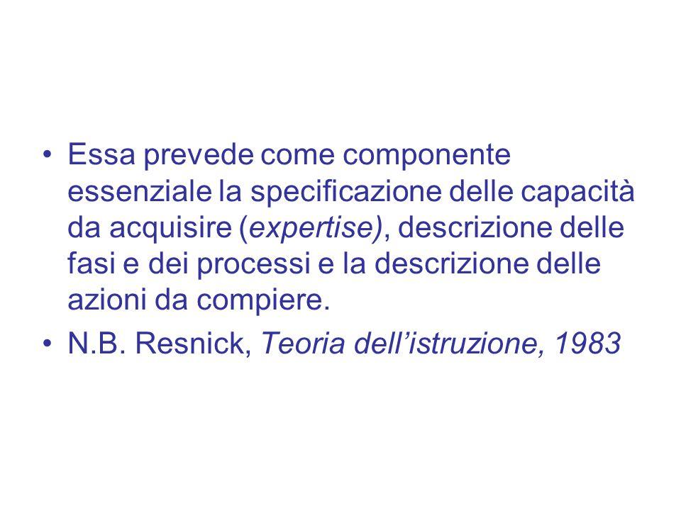 Essa prevede come componente essenziale la specificazione delle capacità da acquisire (expertise), descrizione delle fasi e dei processi e la descrizi