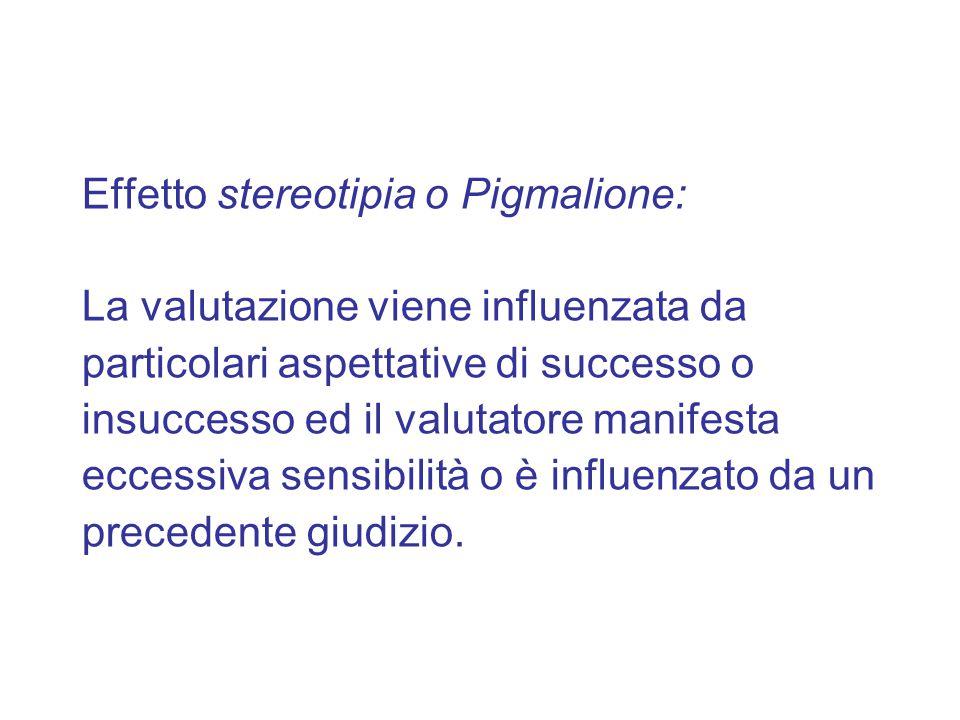 Effetto stereotipia o Pigmalione: La valutazione viene influenzata da particolari aspettative di successo o insuccesso ed il valutatore manifesta ecce