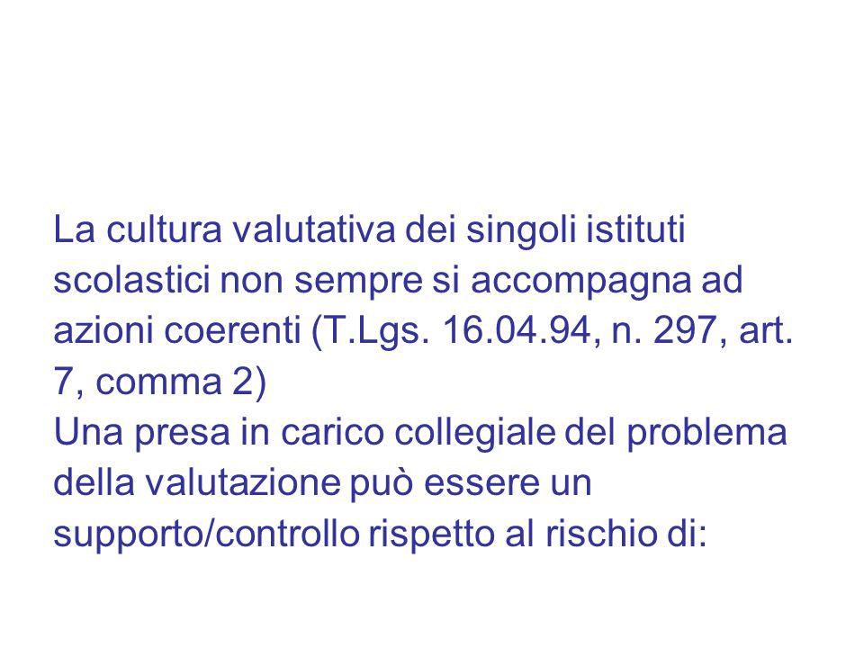 La cultura valutativa dei singoli istituti scolastici non sempre si accompagna ad azioni coerenti (T.Lgs. 16.04.94, n. 297, art. 7, comma 2) Una presa