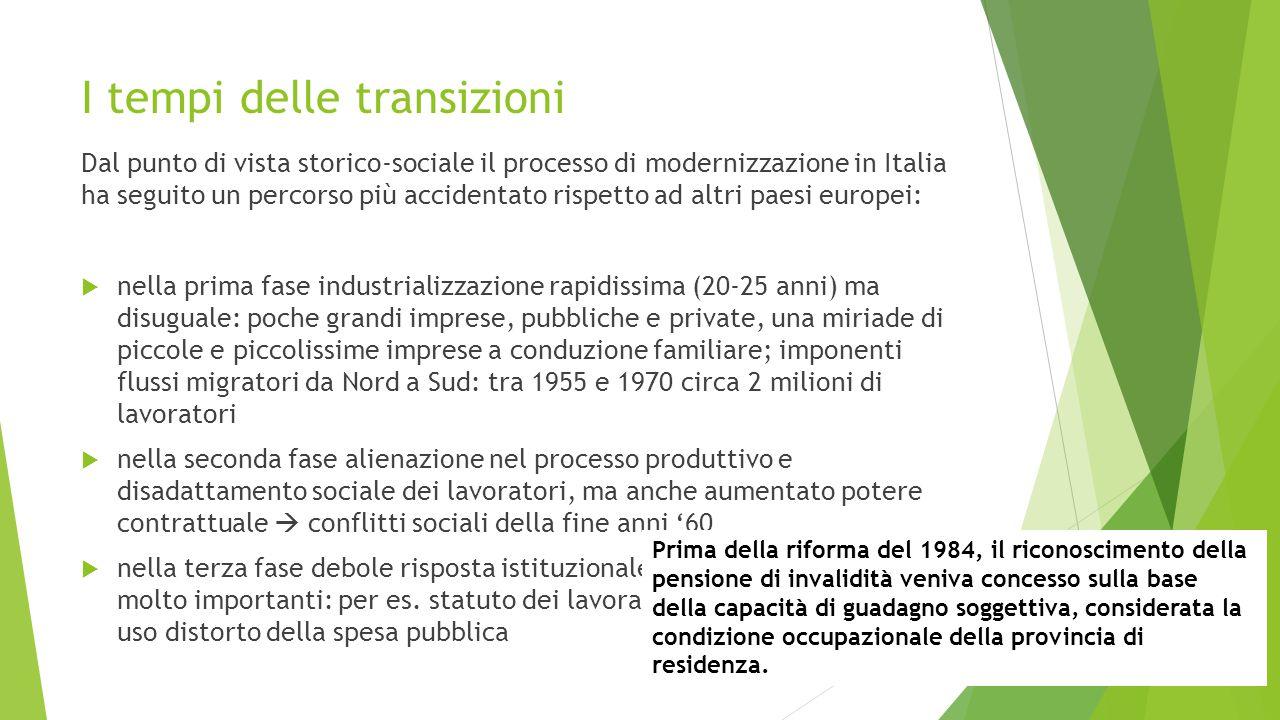 I tempi delle transizioni Dal punto di vista storico-sociale il processo di modernizzazione in Italia ha seguito un percorso più accidentato rispetto