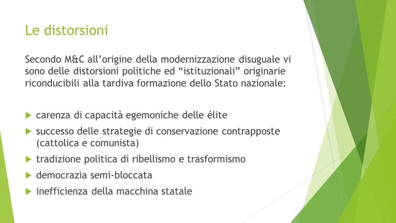 La tenuta del sistema sociale Malgrado questi deficit di fondo, alcuni fattori hanno impedito la disgregazione della società italiana.