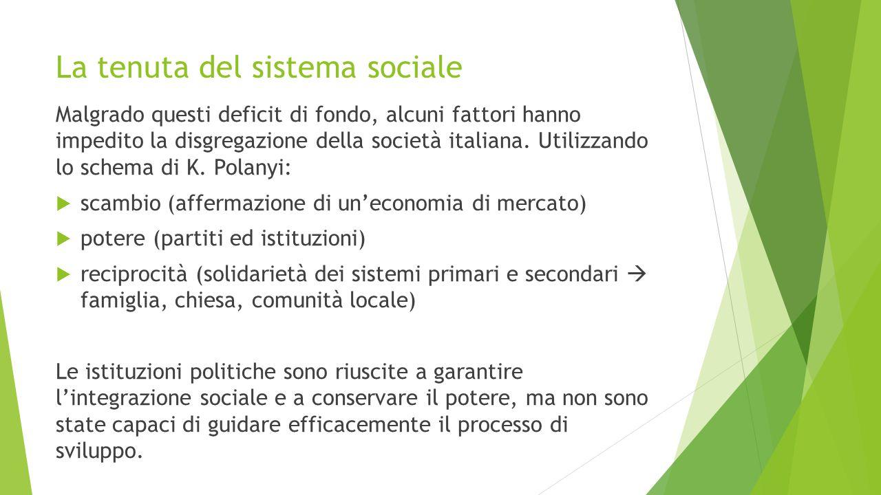 La tenuta del sistema sociale Malgrado questi deficit di fondo, alcuni fattori hanno impedito la disgregazione della società italiana. Utilizzando lo